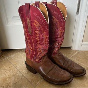 Lucchese - red & orange leather boots